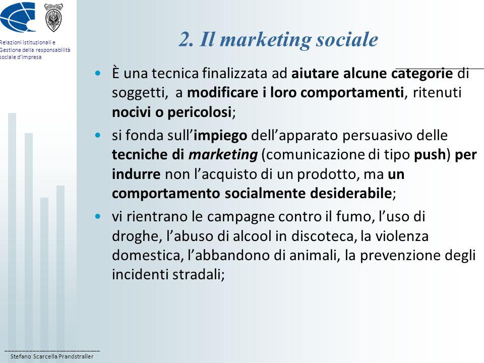 ____________________________ Stefano Scarcella Prandstraller Relazioni istituzionali e Gestione della responsabilità sociale d'impresa 2.