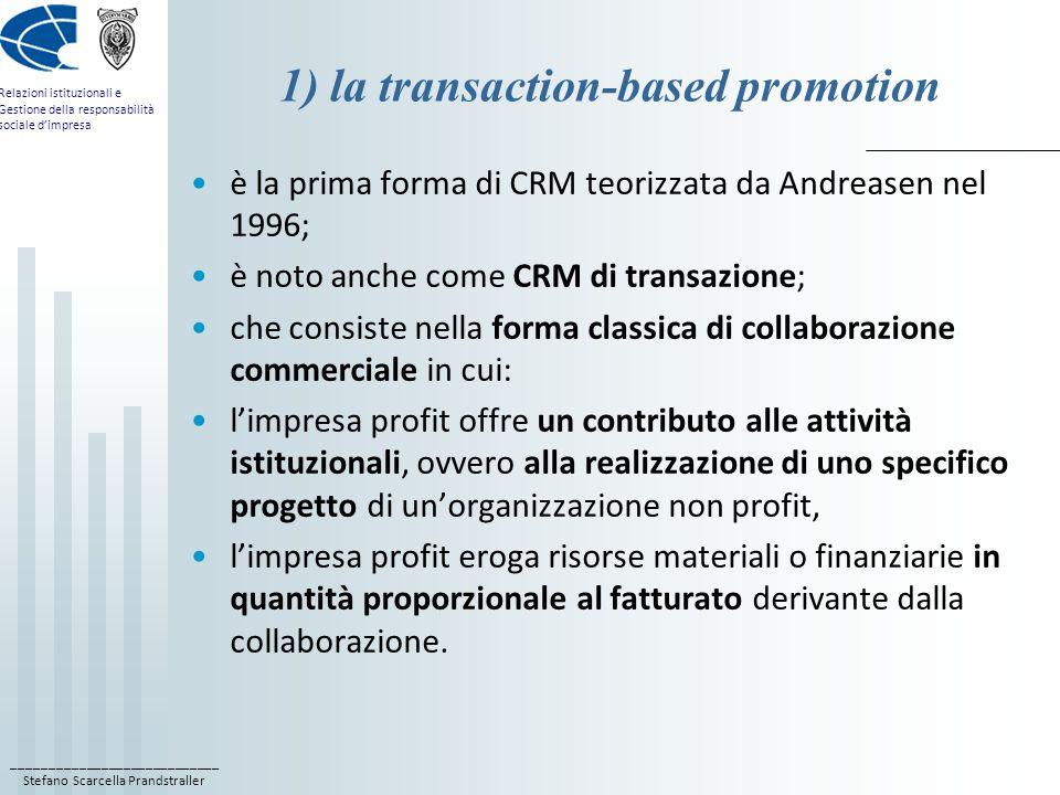 ____________________________ Stefano Scarcella Prandstraller Relazioni istituzionali e Gestione della responsabilità sociale d'impresa 1) la transaction-based promotion è la prima forma di CRM teorizzata da Andreasen nel 1996; è noto anche come CRM di transazione; che consiste nella forma classica di collaborazione commerciale in cui: l'impresa profit offre un contributo alle attività istituzionali, ovvero alla realizzazione di uno specifico progetto di un'organizzazione non profit, l'impresa profit eroga risorse materiali o finanziarie in quantità proporzionale al fatturato derivante dalla collaborazione.