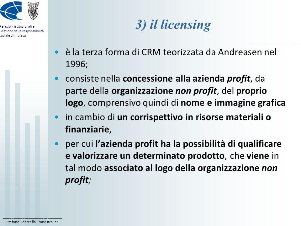 ____________________________ Stefano Scarcella Prandstraller Relazioni istituzionali e Gestione della responsabilità sociale d'impresa 3) il licensing è la terza forma di CRM teorizzata da Andreasen nel 1996; consiste nella concessione alla azienda profit, da parte della organizzazione non profit, del proprio logo, comprensivo quindi di nome e immagine grafica in cambio di un corrispettivo in risorse materiali o finanziarie, per cui l'azienda profit ha la possibilità di qualificare e valorizzare un determinato prodotto, che viene in tal modo associato al logo della organizzazione non profit;