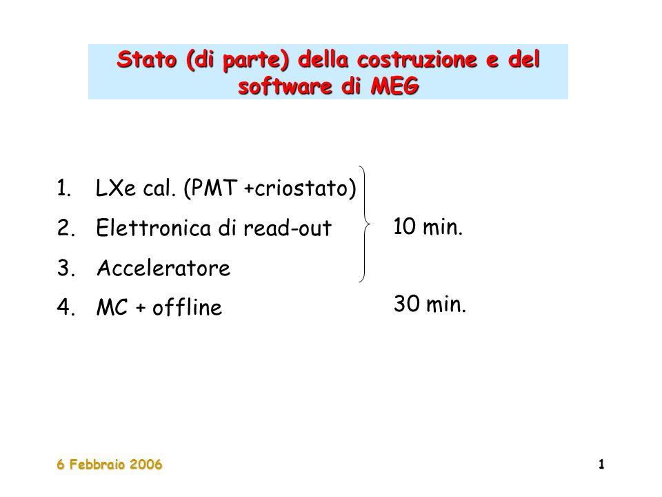 6 Febbraio 20061 Stato (di parte) della costruzione e del software di MEG 1. LXe cal. (PMT +criostato) 2. Elettronica di read-out 3. Acceleratore 4. M