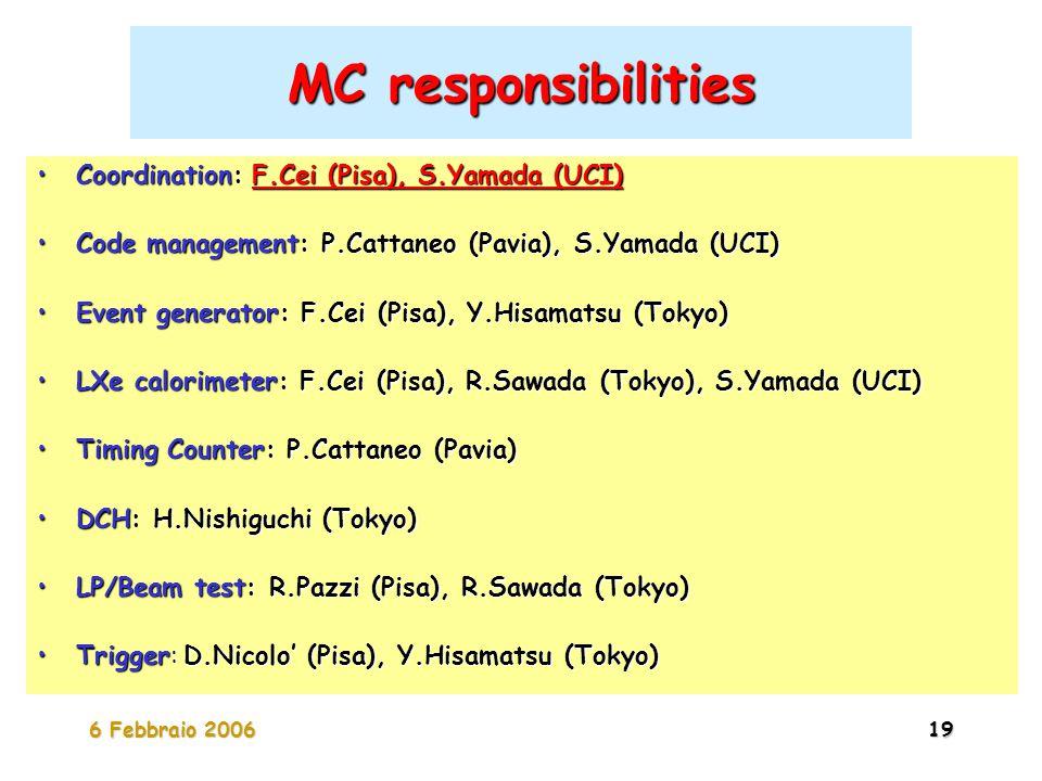 6 Febbraio 200619 MC responsibilities Coordination: F.Cei (Pisa), S.Yamada (UCI)Coordination: F.Cei (Pisa), S.Yamada (UCI) Code management: P.Cattaneo