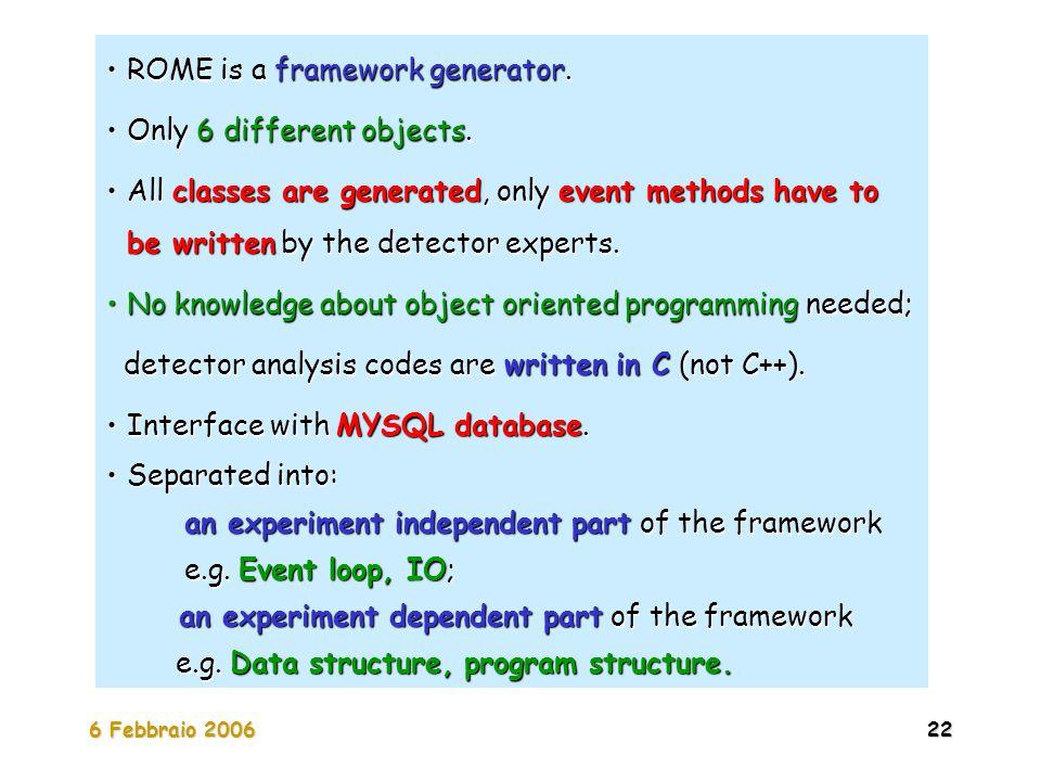 6 Febbraio 200622 ROME is a framework generator.ROME is a framework generator. Only 6 different objects.Only 6 different objects. All classes are gene