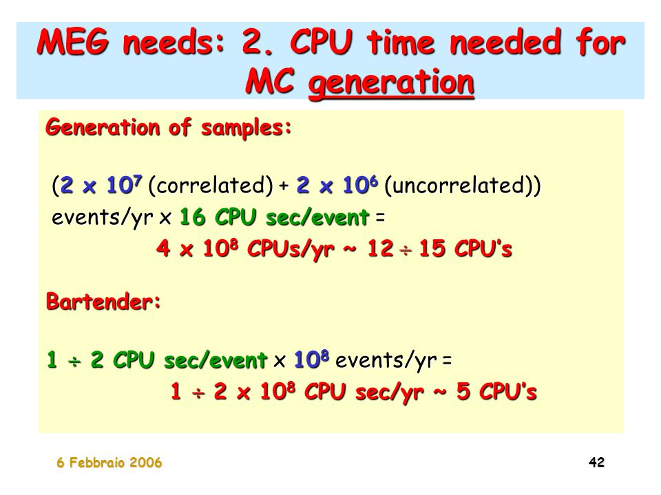 6 Febbraio 200642 MEG needs: 2. CPU time needed for MC generation Generation of samples: (2 x 10 7 (correlated) + 2 x 10 6 (uncorrelated)) (2 x 10 7 (