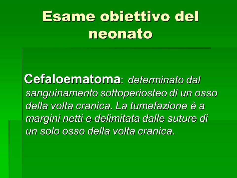 Esame obiettivo del neonato Cefaloematoma : determinato dal sanguinamento sottoperiosteo di un osso della volta cranica. La tumefazione è a margini ne