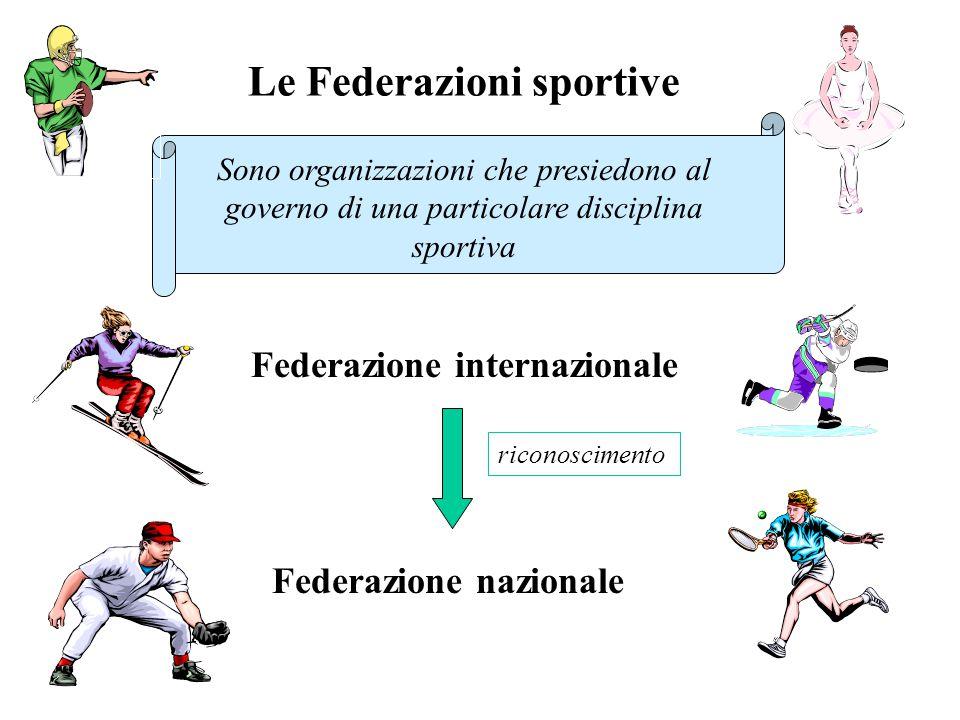 Le Federazioni sportive Sono organizzazioni che presiedono al governo di una particolare disciplina sportiva Federazione internazionale Federazione nazionale riconoscimento