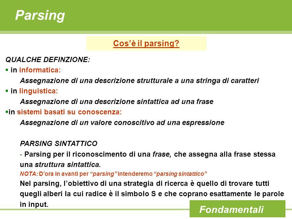 Parsing Cos'è il parsing? Fondamentali QUALCHE DEFINZIONE:  in informatica: Assegnazione di una descrizione strutturale a una stringa di caratteri 