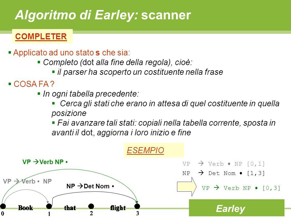 Algoritmo di Earley: scanner COMPLETER Earley  Applicato ad uno stato s che sia:  Completo (dot alla fine della regola), cioè:  il parser ha scoper