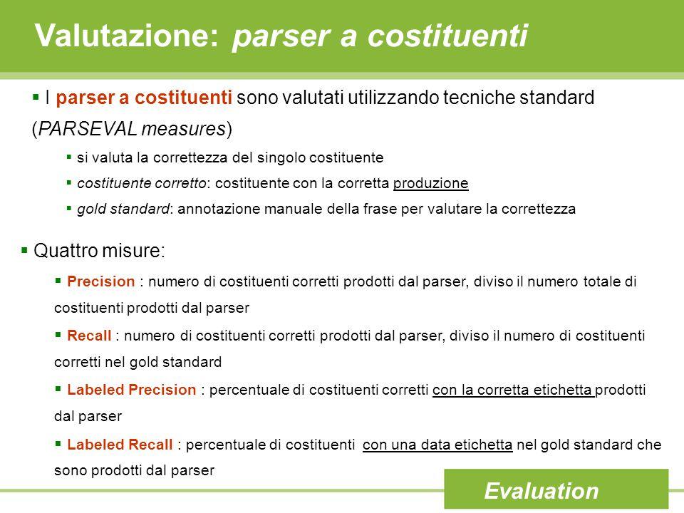 Valutazione: parser a costituenti Evaluation  I parser a costituenti sono valutati utilizzando tecniche standard (PARSEVAL measures)  si valuta la c