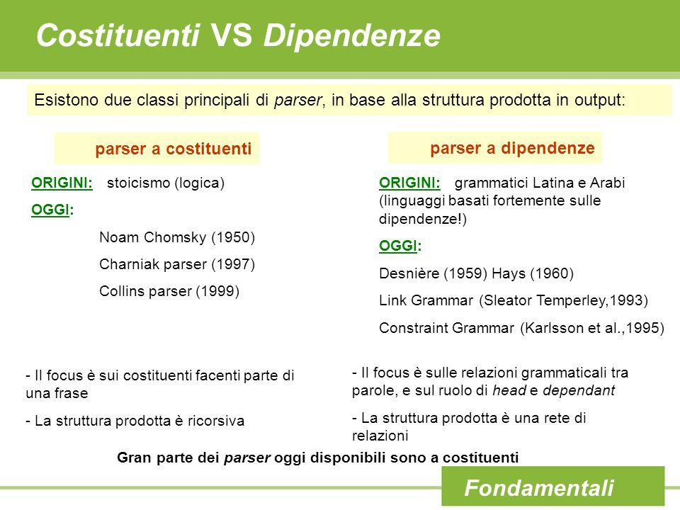 Costituenti VS Dipendenze Esistono due classi principali di parser, in base alla struttura prodotta in output: Fondamentali parser a costituenti parse