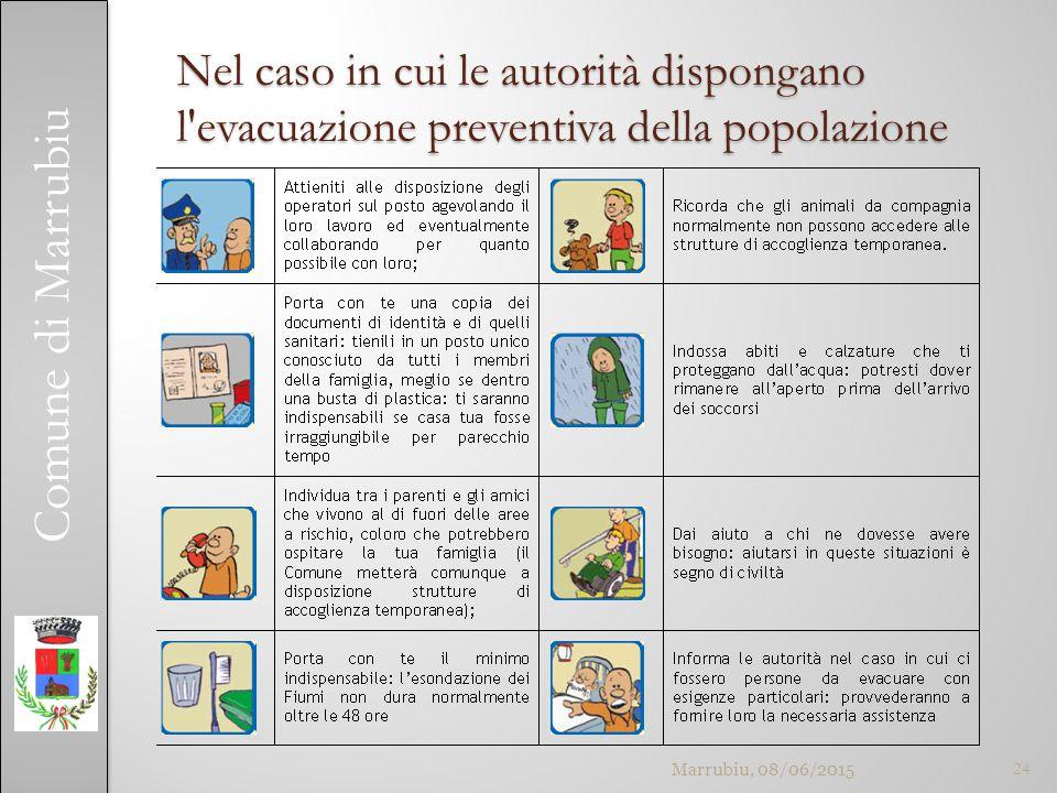 Comune di Marrubiu Nel caso in cui le autorità dispongano l evacuazione preventiva della popolazione Marrubiu, 08/06/201524