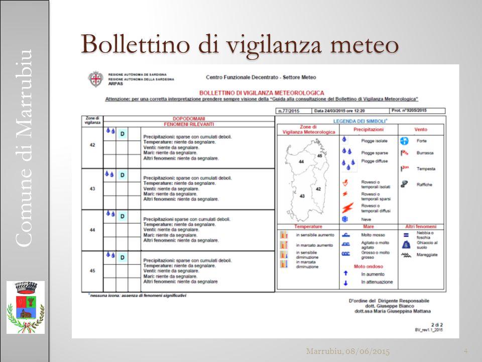 Comune di Marrubiu Bollettino di vigilanza meteo 4Marrubiu, 08/06/2015