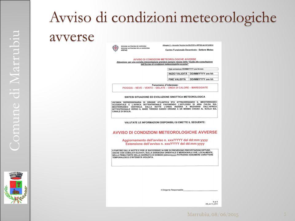 Comune di Marrubiu Avviso di condizioni meteorologiche avverse 5Marrubiu, 08/06/2015