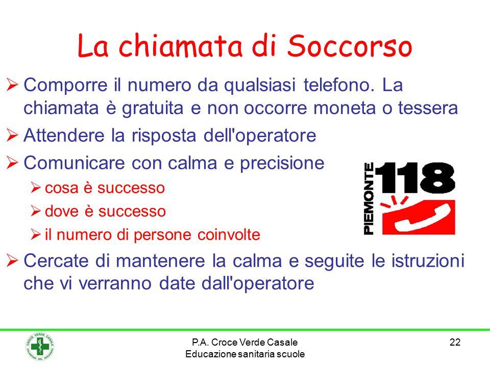 22 La chiamata di Soccorso  Comporre il numero da qualsiasi telefono. La chiamata è gratuita e non occorre moneta o tessera  Attendere la risposta d