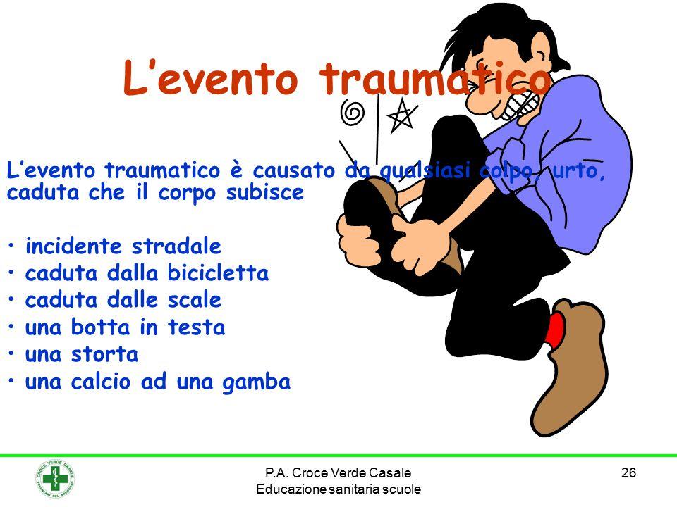 26 L'evento traumatico L'evento traumatico è causato da qualsiasi colpo, urto, caduta che il corpo subisce incidente stradale caduta dalla bicicletta caduta dalle scale una botta in testa una storta una calcio ad una gamba P.A.