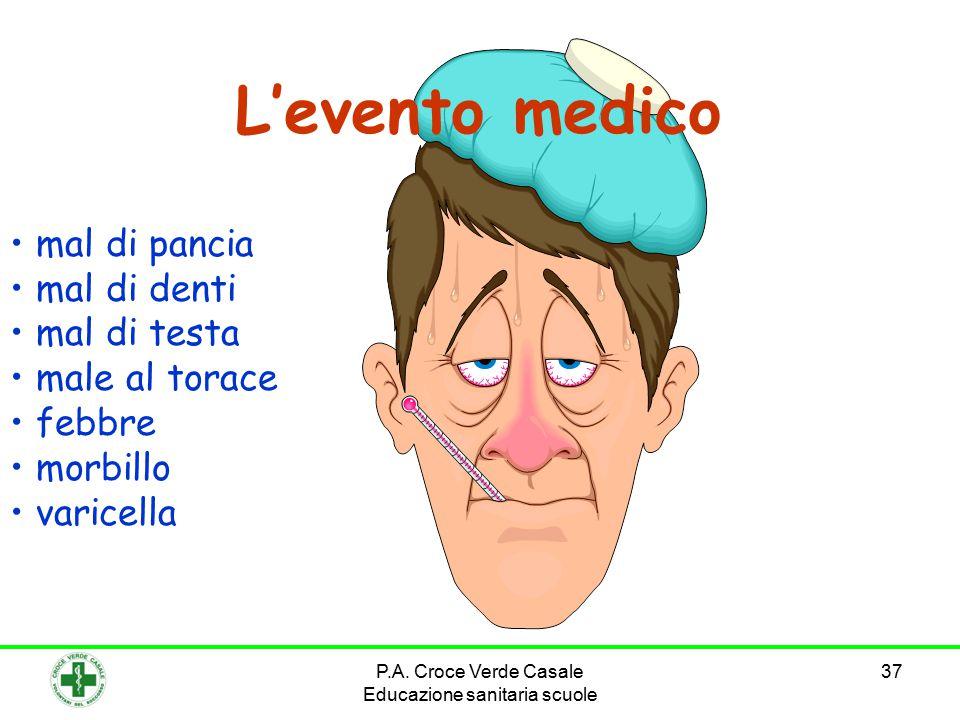 37 L'evento medico mal di pancia mal di denti mal di testa male al torace febbre morbillo varicella P.A. Croce Verde Casale Educazione sanitaria scuol
