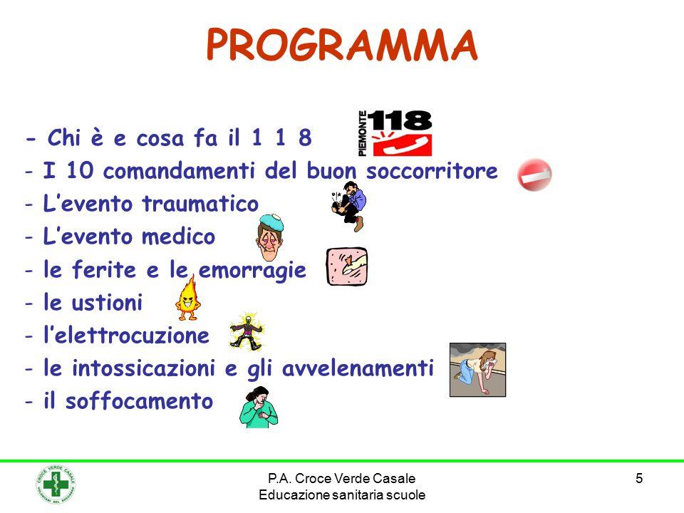 5 PROGRAMMA - Chi è e cosa fa il 1 1 8 - I 10 comandamenti del buon soccorritore - L'evento traumatico - L'evento medico - le ferite e le emorragie - le ustioni - l'elettrocuzione - le intossicazioni e gli avvelenamenti - il soffocamento P.A.
