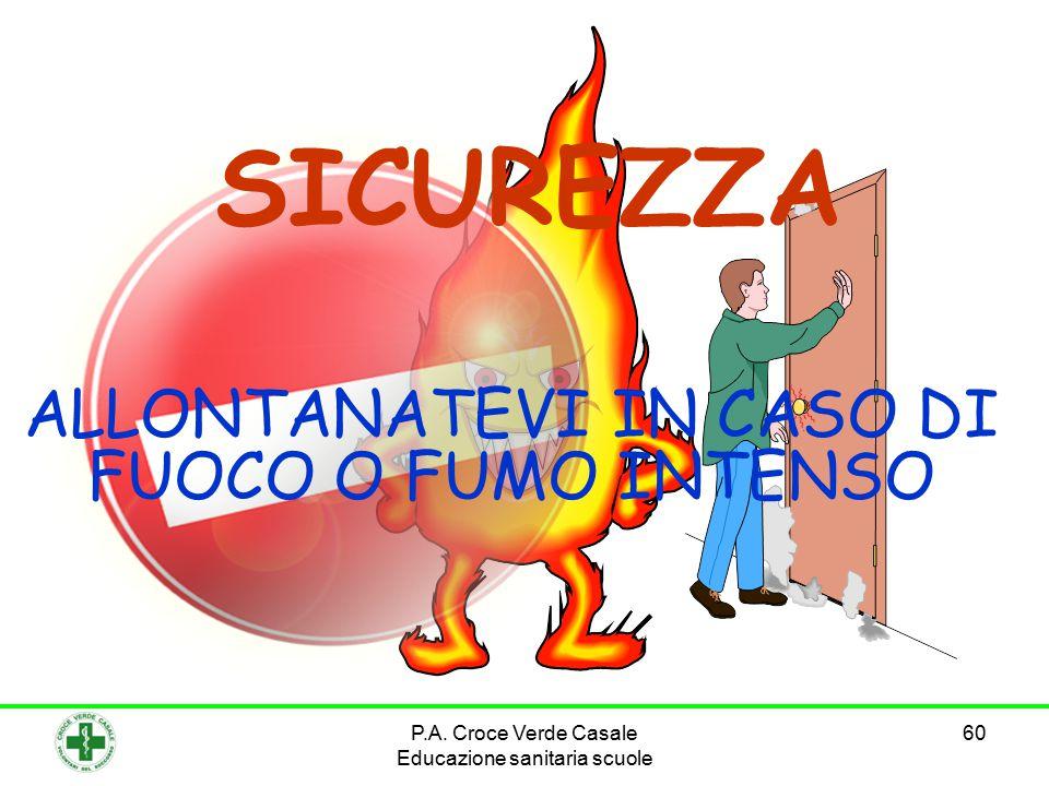 60 SICUREZZA ALLONTANATEVI IN CASO DI FUOCO O FUMO INTENSO P.A.