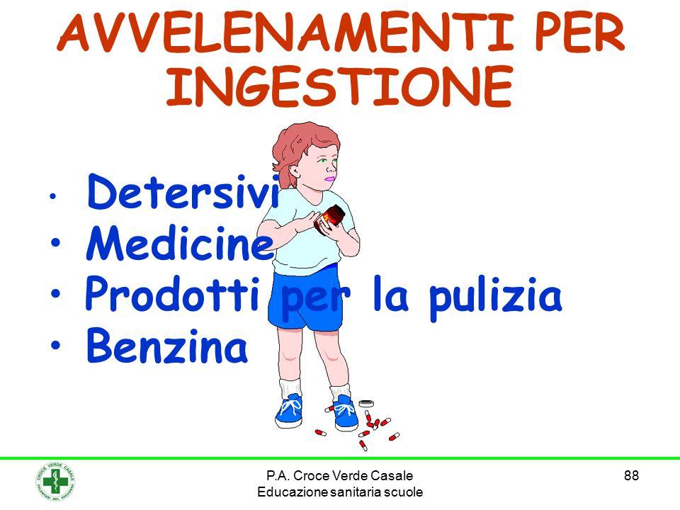 P.A. Croce Verde Casale Educazione sanitaria scuole 88 AVVELENAMENTI PER INGESTIONE Detersivi Medicine Prodotti per la pulizia Benzina