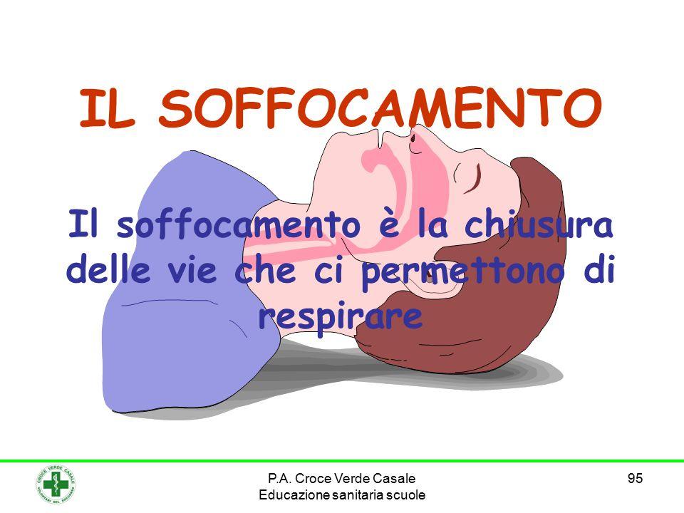 95 IL SOFFOCAMENTO Il soffocamento è la chiusura delle vie che ci permettono di respirare P.A.