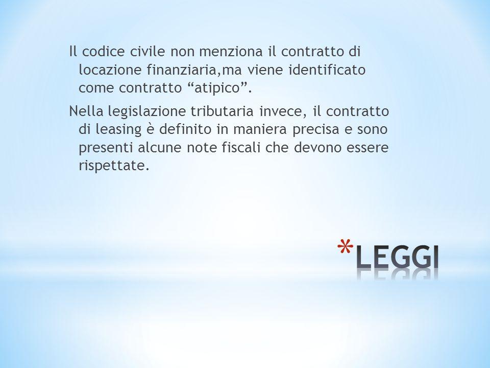 Il codice civile non menziona il contratto di locazione finanziaria,ma viene identificato come contratto atipico .
