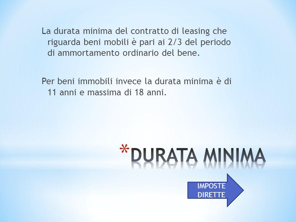 La durata minima del contratto di leasing che riguarda beni mobili è pari ai 2/3 del periodo di ammortamento ordinario del bene.