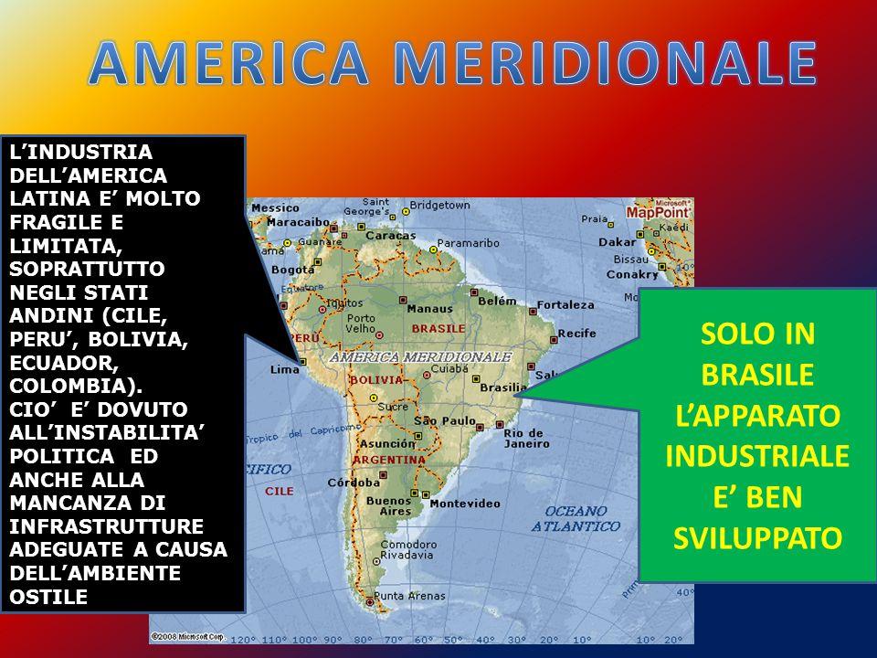 L'INDUSTRIA DELL'AMERICA LATINA E' MOLTO FRAGILE E LIMITATA, SOPRATTUTTO NEGLI STATI ANDINI (CILE, PERU', BOLIVIA, ECUADOR, COLOMBIA).