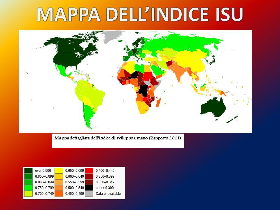 Mappa dettagliata dell'indice di sviluppo umano (Rapporto 2011)