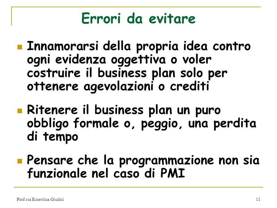 Prof.ssa Ernestina Giudici11 Errori da evitare Innamorarsi della propria idea contro ogni evidenza oggettiva o voler costruire il business plan solo p