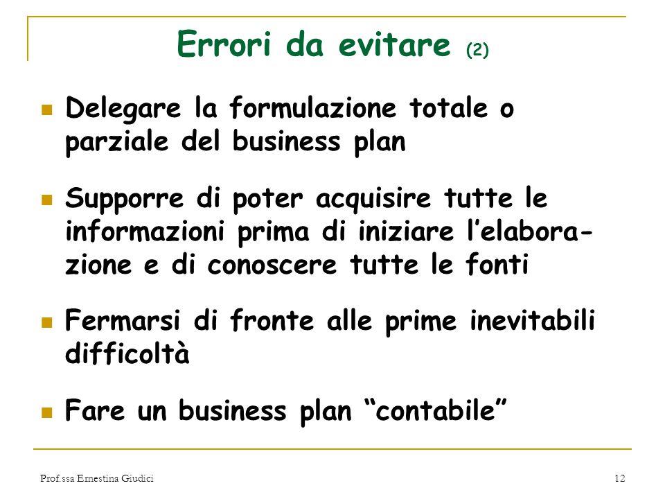 Prof.ssa Ernestina Giudici12 Errori da evitare (2) Delegare la formulazione totale o parziale del business plan Supporre di poter acquisire tutte le i