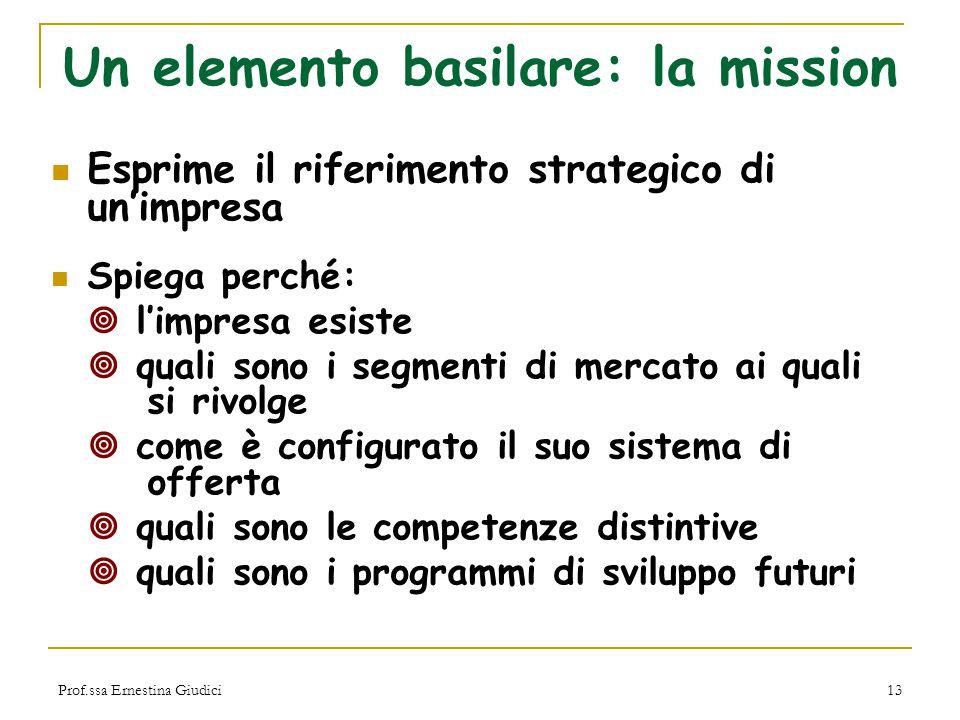 Prof.ssa Ernestina Giudici13 Un elemento basilare: la mission Esprime il riferimento strategico di un'impresa Spiega perché:  l'impresa esiste  qual