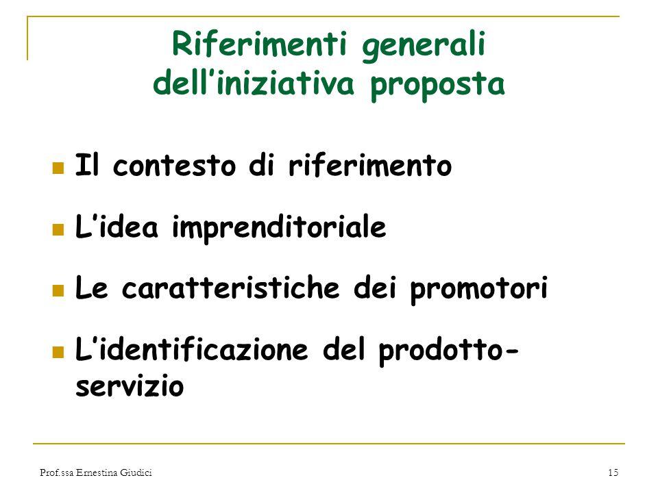 Prof.ssa Ernestina Giudici15 Riferimenti generali dell'iniziativa proposta Il contesto di riferimento L'idea imprenditoriale Le caratteristiche dei pr
