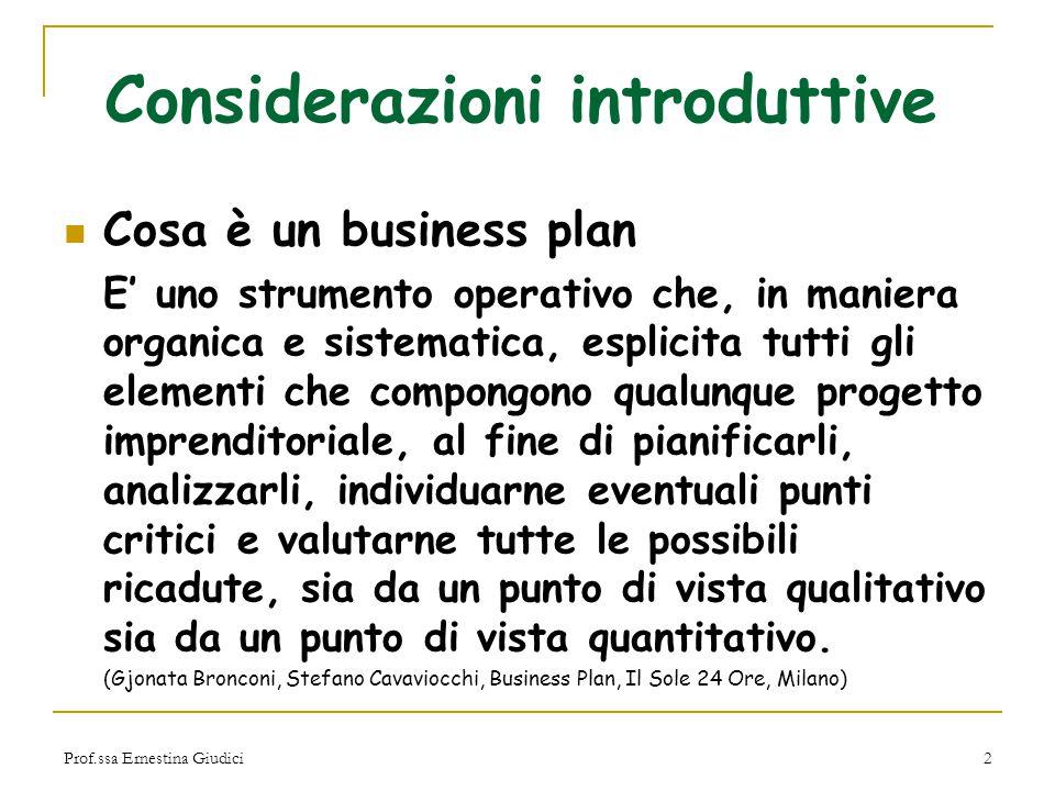 Prof.ssa Ernestina Giudici2 Considerazioni introduttive Cosa è un business plan E' uno strumento operativo che, in maniera organica e sistematica, esp
