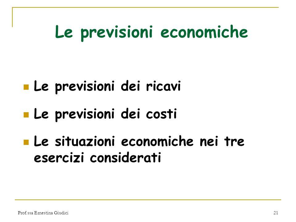 Prof.ssa Ernestina Giudici21 Le previsioni economiche Le previsioni dei ricavi Le previsioni dei costi Le situazioni economiche nei tre esercizi consi