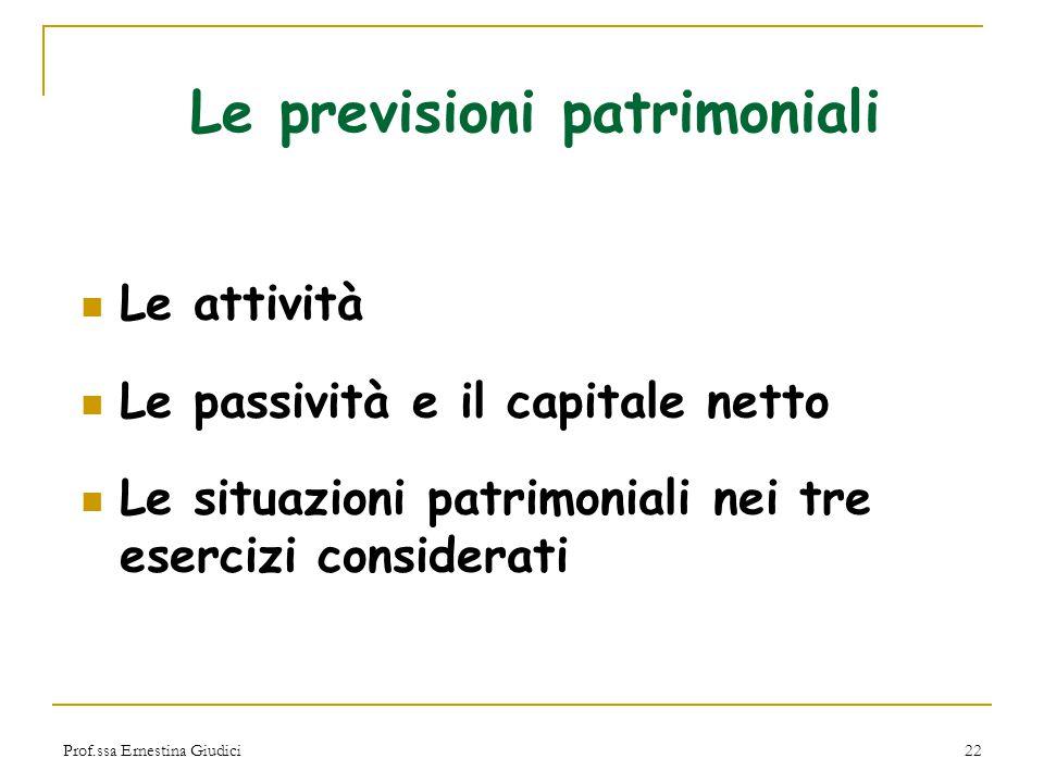 Prof.ssa Ernestina Giudici22 Le previsioni patrimoniali Le attività Le passività e il capitale netto Le situazioni patrimoniali nei tre esercizi consi
