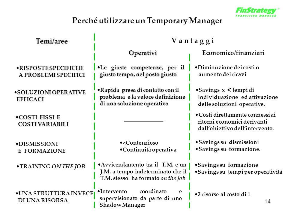 14 Perché utilizzare un Temporary Manager COSTI FISSI ECOSTI FISSI E COSTI VARIABILI COSTI VARIABILI RISPOSTE SPECIFICHERISPOSTE SPECIFICHE A PROBLEMI