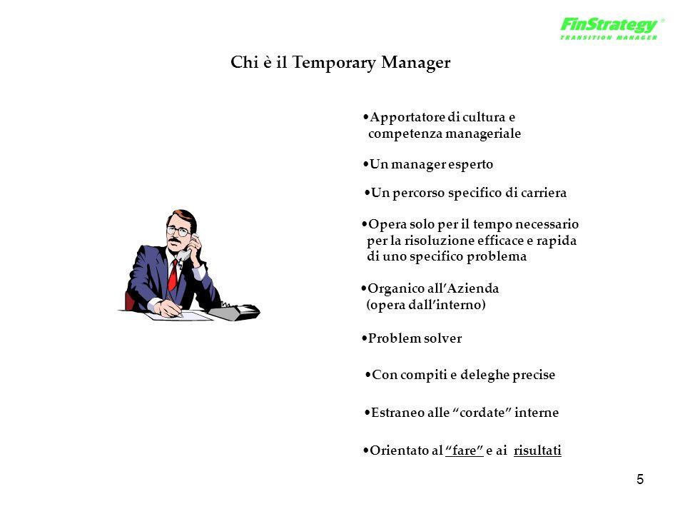 5 Chi è il Temporary Manager Un manager esperto Apportatore di cultura e competenza manageriale Organico all'Azienda (opera dall'interno) Orientato al