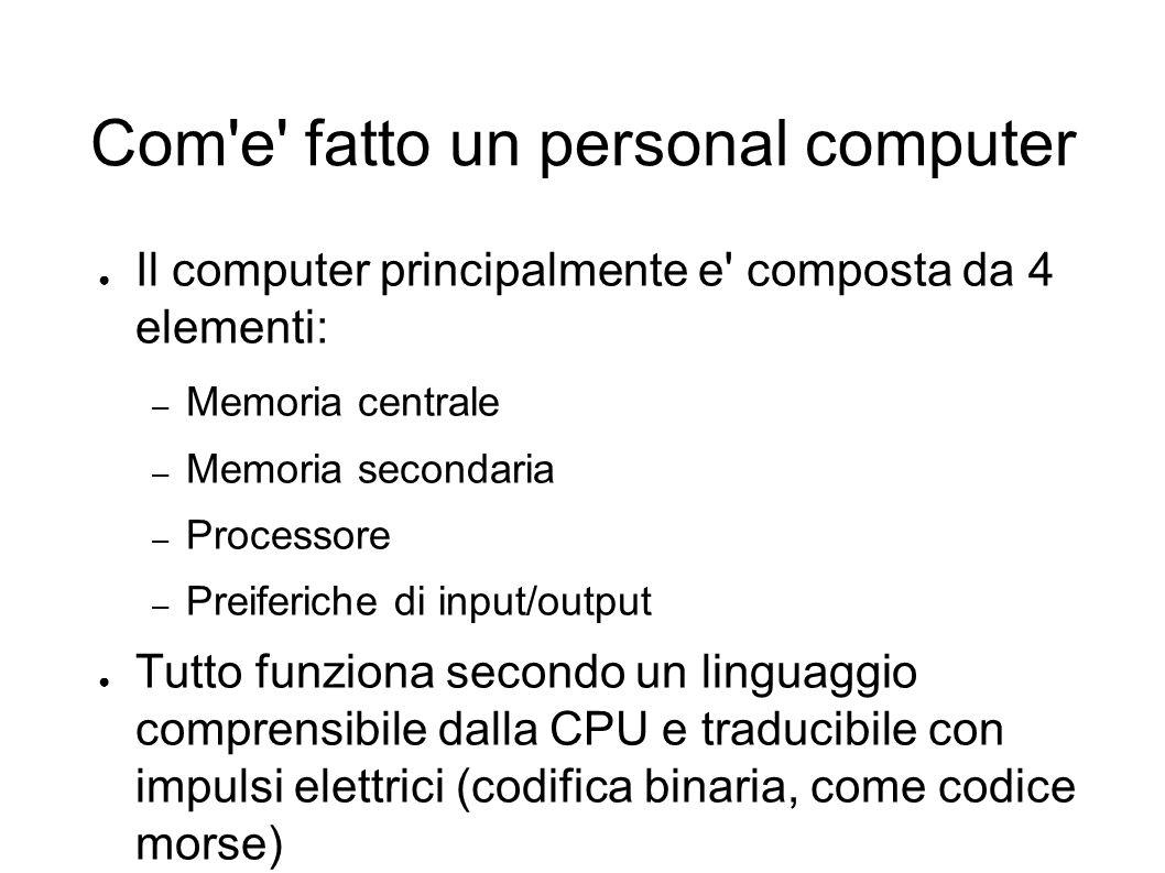 Com e fatto un personal computer ● Il computer principalmente e composta da 4 elementi: – Memoria centrale – Memoria secondaria – Processore – Preiferiche di input/output ● Tutto funziona secondo un linguaggio comprensibile dalla CPU e traducibile con impulsi elettrici (codifica binaria, come codice morse)