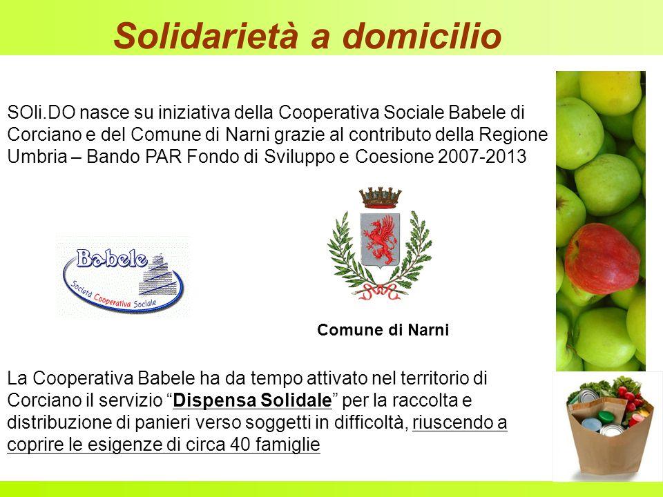 Solidarietà a domicilio SOli.DO nasce su iniziativa della Cooperativa Sociale Babele di Corciano e del Comune di Narni grazie al contributo della Regi