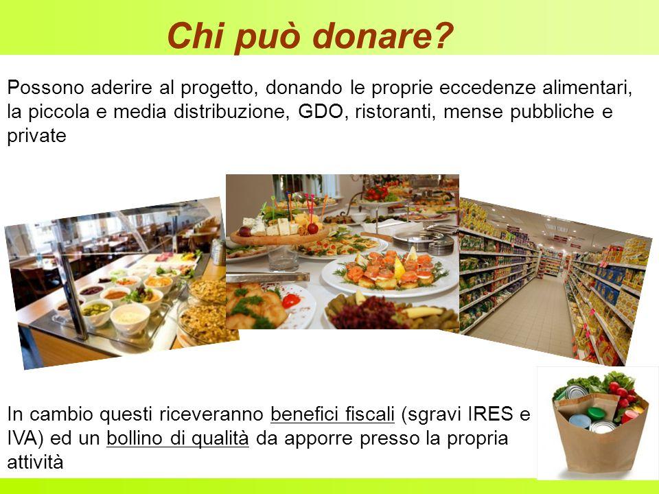 Chi può donare? Possono aderire al progetto, donando le proprie eccedenze alimentari, la piccola e media distribuzione, GDO, ristoranti, mense pubblic