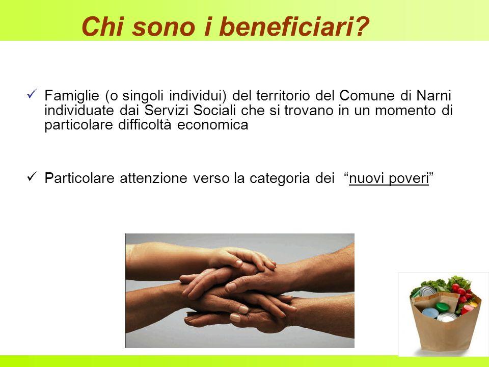 Chi sono i beneficiari? Famiglie (o singoli individui) del territorio del Comune di Narni individuate dai Servizi Sociali che si trovano in un momento