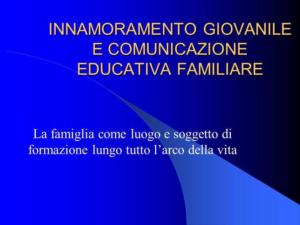 INNAMORAMENTO GIOVANILE E COMUNICAZIONE EDUCATIVA FAMILIARE La famiglia come luogo e soggetto di formazione lungo tutto l'arco della vita