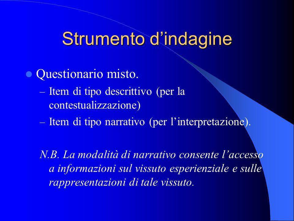 Strumento d'indagine Questionario misto. – Item di tipo descrittivo (per la contestualizzazione) – Item di tipo narrativo (per l'interpretazione). N.B