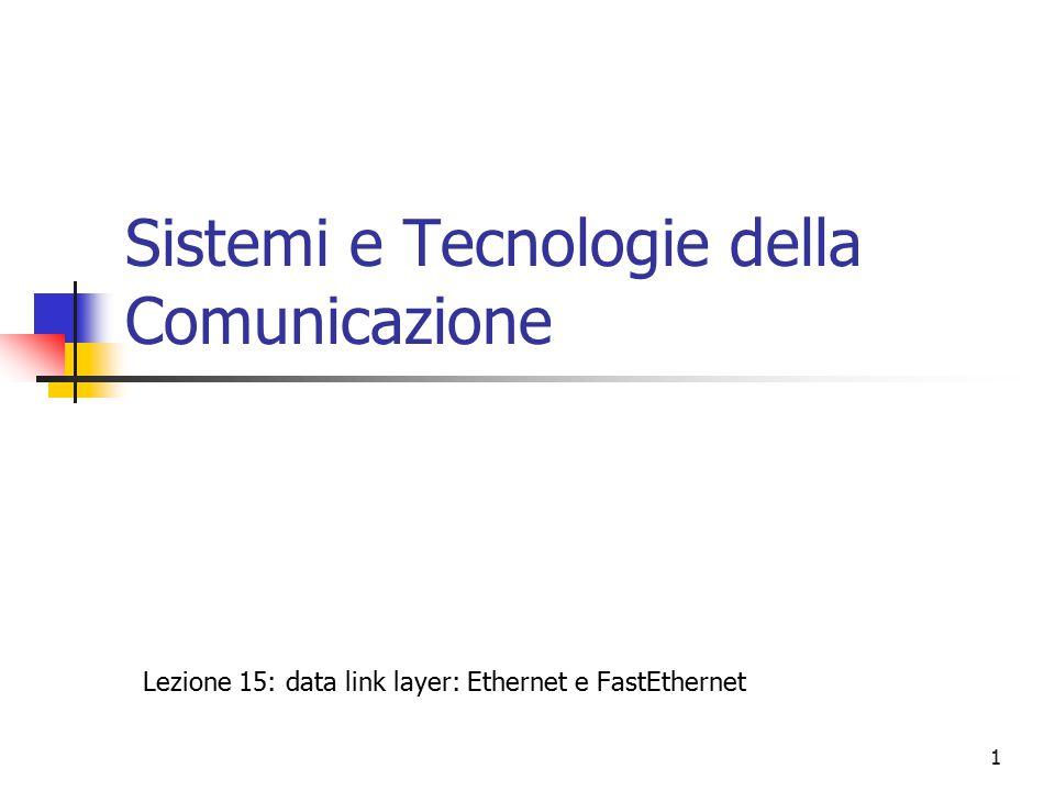 1 Sistemi e Tecnologie della Comunicazione Lezione 15: data link layer: Ethernet e FastEthernet