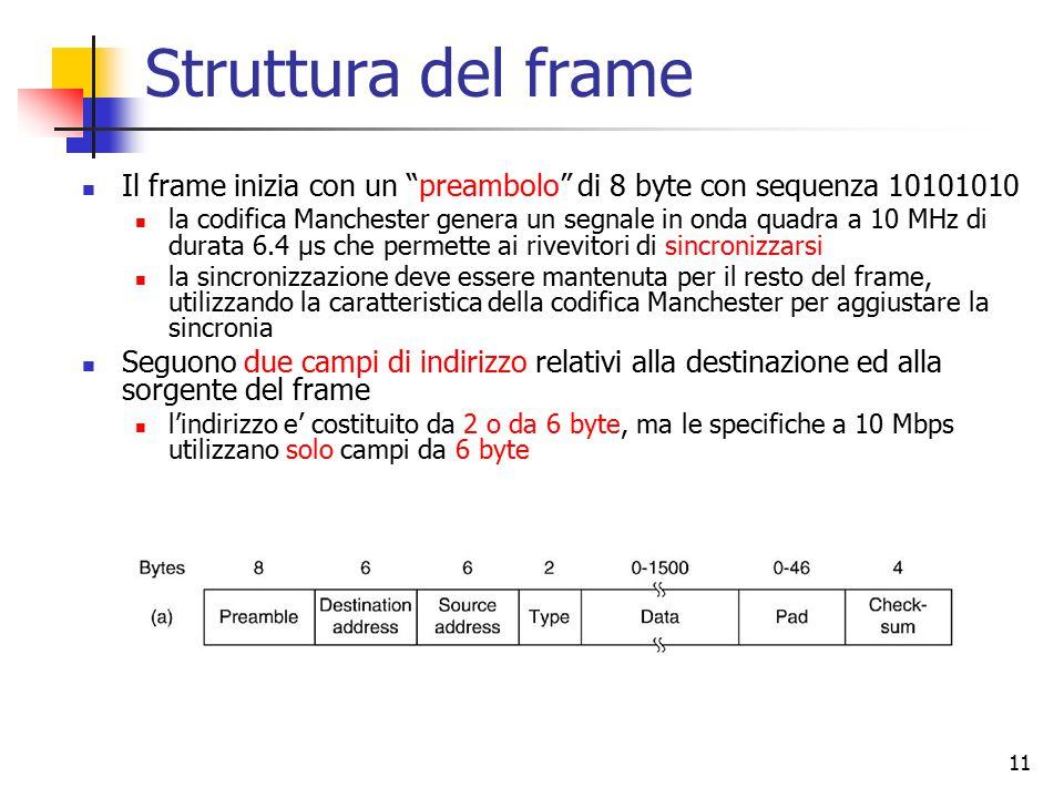 """11 Struttura del frame Il frame inizia con un """"preambolo"""" di 8 byte con sequenza 10101010 la codifica Manchester genera un segnale in onda quadra a 10"""