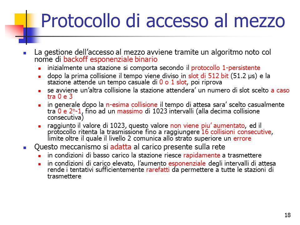 18 Protocollo di accesso al mezzo La gestione dell'accesso al mezzo avviene tramite un algoritmo noto col nome di backoff esponenziale binario inizial