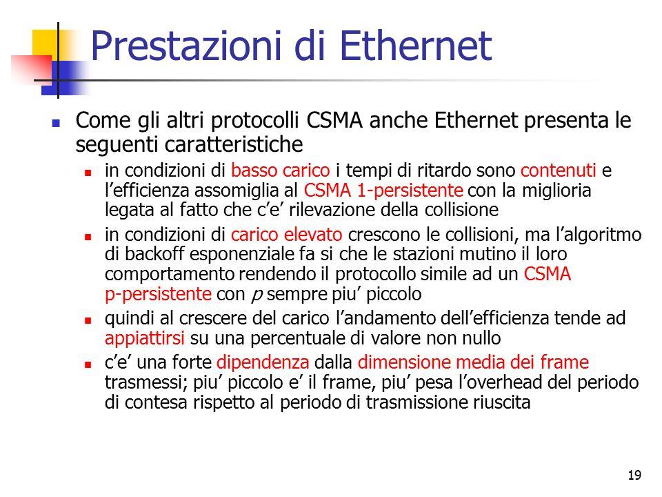 19 Prestazioni di Ethernet Come gli altri protocolli CSMA anche Ethernet presenta le seguenti caratteristiche in condizioni di basso carico i tempi di