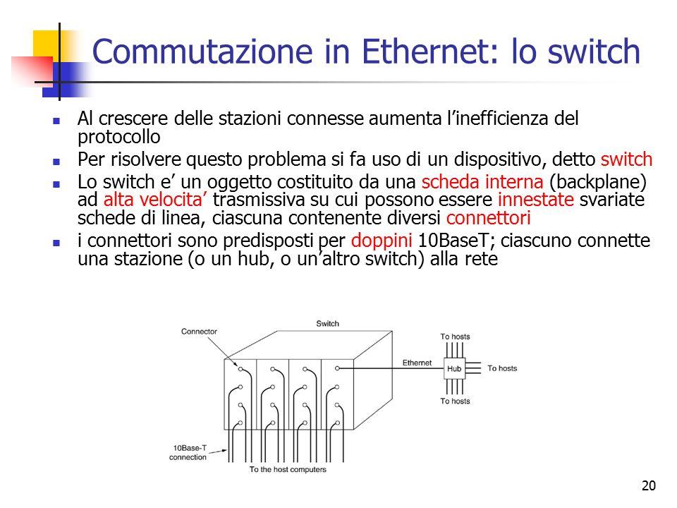 20 Commutazione in Ethernet: lo switch Al crescere delle stazioni connesse aumenta l'inefficienza del protocollo Per risolvere questo problema si fa u