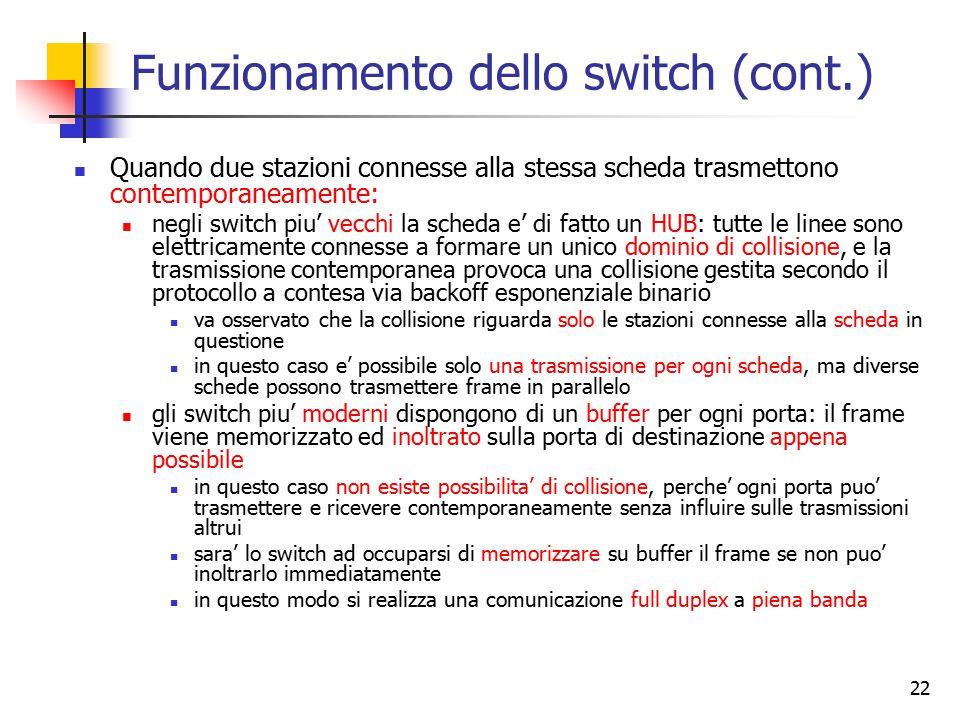 22 Funzionamento dello switch (cont.) Quando due stazioni connesse alla stessa scheda trasmettono contemporaneamente: negli switch piu' vecchi la sche