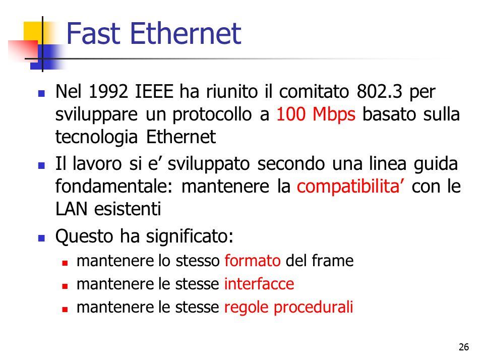 26 Fast Ethernet Nel 1992 IEEE ha riunito il comitato 802.3 per sviluppare un protocollo a 100 Mbps basato sulla tecnologia Ethernet Il lavoro si e' s