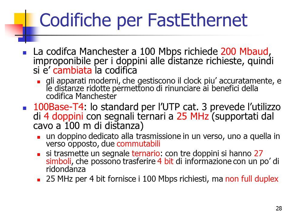 28 Codifiche per FastEthernet La codifca Manchester a 100 Mbps richiede 200 Mbaud, improponibile per i doppini alle distanze richieste, quindi si e' c